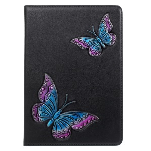 For iPad 9.7-inch (2017) Smart Imprint 3D Pattern Wallet Stand Leather Case Shell - Bi-color Butterflies