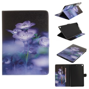 Patterned Smart Leather Stand Card Slots Case for iPad 9.7-inch (2017) - Purple Flowers