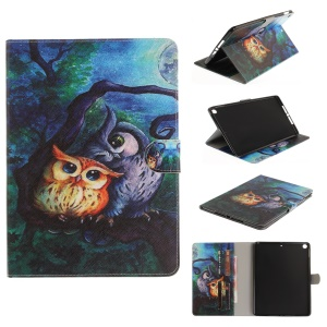 Pattern Printing Smart Leather Card Slots Shell for iPad 9.7-inch (2017) - Two Owls on Branch