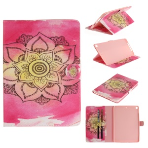 Pattern Printing Smart Leather Protective Cover for iPad 9.7-inch (2017) - Henna Lotus