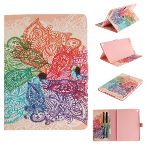Pattern Printing Card Slots Leather Stand Case for iPad 9.7-inch (2017) - Colorful Paisley