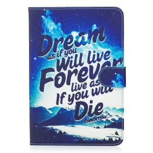 For iPad mini 5 Pattern Printing Wallet Leather Foldable Tablet  Casing Accessory - Mountains at Night and Inspiring Words