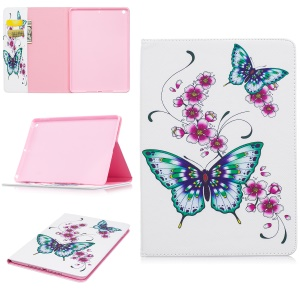 For iPad Pro 9.7 inch Pattern Printing Wallet Leather Stand Case - Butterflies and Flower