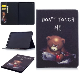 Pattern Printing Wallet Leather Tablet Casing with Stand for iPad Pro 9.7 inch - Brown Bear and Warning Words