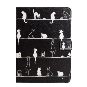 Pattern Printing Wallet Leather Stand Case for iPad 9.7-inch (2017) - Cats Engaging in Different Activities
