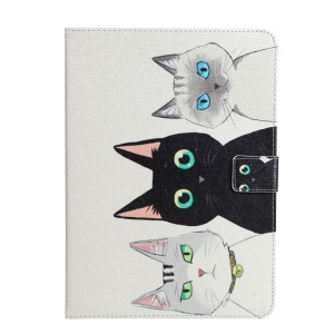 For iPad 9.7-inch (2017) Printing Pattern Wallet Leather Stand Protective Shell - Three Cats