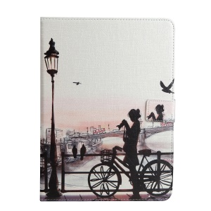 For iPad 9.7-inch (2017) Pattern Printing Wallet Leather Foldable Tablet Case  - Young  Lady beside a Bike