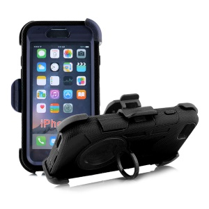 Belt Clip Ring Kickstand Heavy Duty Silicone PC Protection Phone Case for iPhone 6s 6 4.7 - Black