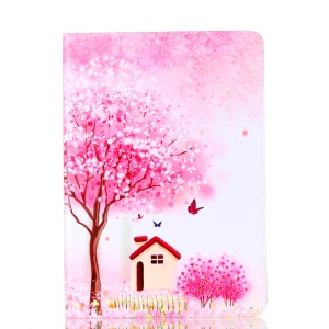 Pattern Printing Leather Phone Casing with Stand for iPad Pro 10.5-inch - Tree and house