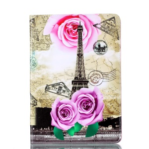 Pattern Printing Leather Phone Casing with Stand for iPad Pro 10.5-inch - Rose and tower