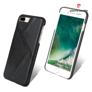 PIERRE CARDIN PCL-P29 Stitched Genuine Leather Coated Hard PC Case for iPhone 7 Plus 5.5 inch - Black