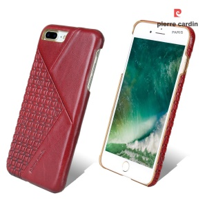 PIERRE CARDIN PCL-P29 Stitched Genuine Leather Coated Hard PC Cover for iPhone 8 Plus / 7 Plus - Red