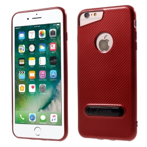 J-CASE Carbon Fiber Texture TPU Case with Kickstand for iPhone 6S/6 Plus 5.5 inch - Red