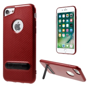 J-CASE Carbon Fiber Texture TPU Cell Phone Case with Kickstand for iPhone 7 4.7 inch - Red