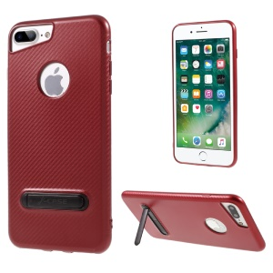 J-CASE Carbon Fiber Texture TPU Cover Case with Kickstand for iPhone 7 Plus 5.5 inch - Red