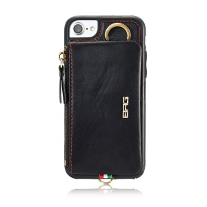 BRG BRG8002 Split Leather Coated PC Hard Case with Zipper Pouch  2-in-1 for iPhone 7 4.7 inch - Black