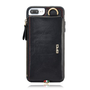 BRG BRG8002 Split Leather Coated PC Hard Case with Zipper Pouch  2-in-1 for iPhone 7 Plus 5.5 inch - Black