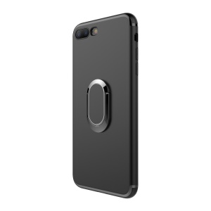 Magnetic Ring Holder Car Bracket TPU PC Hard Case for iPhone 8 Plus / 7 Plus 5.5 inch - Black