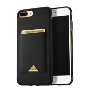DUX DUCIS Pocard Series Card Slot PU Leather Skin TPU Back Cover for iPhone 8 Plus / 7 Plus 5.5 inch - Black