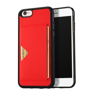 DUX DUCIS Pocard Series Card Slot PU Leather Skin TPU Mobile Phone Cover for iPhone 6 / 6s 4.7-inch - Red