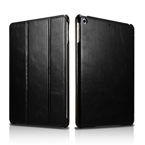 ICARER Genuine Leather Tri-fold Stand Case for iPad 9.7 (2018) / 9.7 (2017) - Black