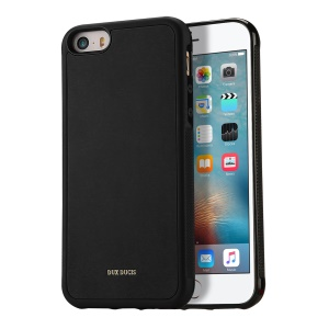 DUX DUCIS Pocard Series PU Leather Coated TPU Back Case for iPhone SE/5S/5 - Black
