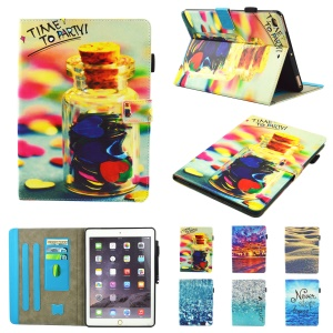 Pattern Printing Card Holders Stand Leather Smart Flip Case for iPad 9.7-inch (2017) - Time to Party