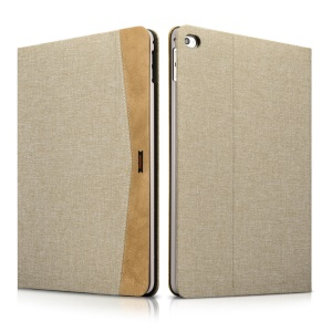 XOOMZ Cloth Texture PU Leather Flip Stand Tablet Cover for iPad Air 2 - Khakii