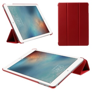 Tri-fold Stand PU Leather + PC Protective Shell for iPad 9.7 (2018) / 9.7 (2017) - Red