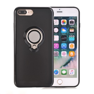 360 Degree Rotary Finger Ring Kickstand Soft TPU Back Case for iPhone 8 Plus / 7 Plus 5.5 inch - Black
