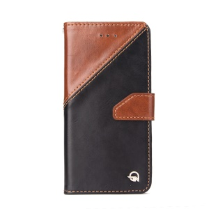 MOLAN CANO Splicing Contrast Color Leather Wallet Stand Phone Case for iPhone 6s 6 4.7 inch - Brown