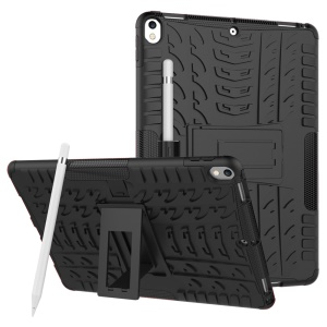 For iPad Pro 10.5-inch (2017) Tyre Pattern Kickstand PC + TPU Hybrid Case - Black