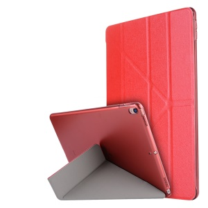 For iPad Pro 10.5-inch (2017) Silk Texture Smart Origami Stand Leather Folio Case - Red