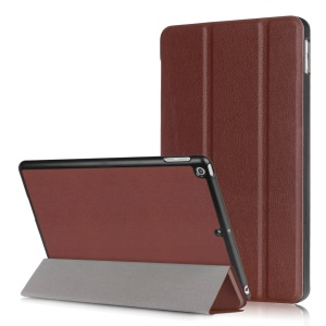 Litchi Skin Auto-wake/sleep Tri-fold Stand Protective Leather Casing for iPad 9.7 (2018) / 9.7 (2017) - Brown