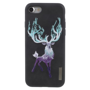 NIMMY Embroidery Luminous PU Leather Coated Hard Back Casing for iPhone 8 / iPhone 7 4.7 inch - Antelope