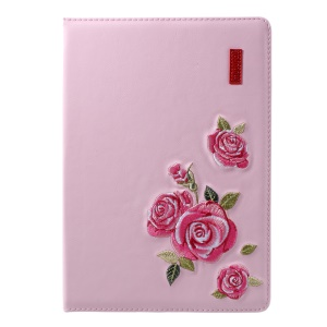 MUTURAL Embroidery Process Leather Tablet Cover with Stand for iPad 9.7 (2017) / iPad Pro 9.7 / Air 2 / Air - Pink