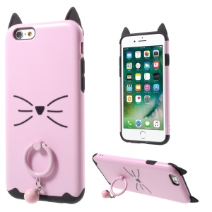 Moustach Cat TPU + PC Finger Ring Kickstand Back Case for iPhone 6 6s - Pink