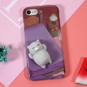 Squishy 3D Soft Silicone Cat Lying in Bed Squish TPU Case for iPhone 7