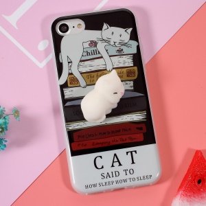 Squishy 3D Cute Silicone Cat TPU Shell Cover Case for iPhone 8 / 7 4.7 inch
