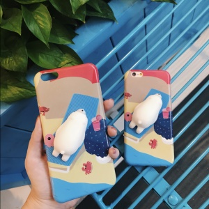 3D Squishy Silicone Polar Bear TPU Case Phone Shell for iPhone 7 Plus