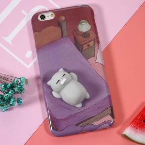 Squishy 3D Pinch Squish Silicone Cat Lying in Bed Squishy TPU Case for iPhone 6s 6