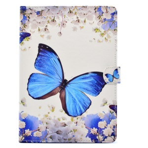 Pattern Printing Wallet Leather Cover for iPad 9.7 (2017) - Butterfly and Flowers