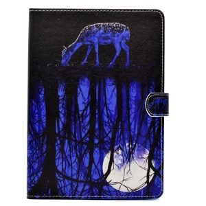 Pattern Printing Protective Leather Cover for iPad 9.7 (2017) - Sika Deer and Moonlight Reflection