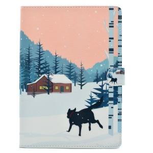 Pattern Printing Flip Leather Stand Cover Case for iPad 9.7 (2017) - Dog in the Snow