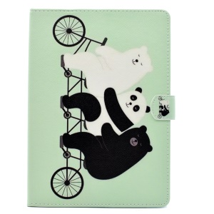 Pattern Printing Leather Case with Wallet Stand for iPad 9.7 (2017) - Bears and Panda Riding Bike