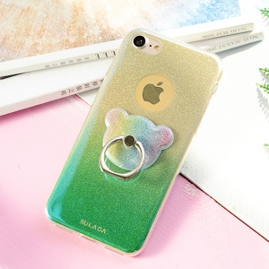 SULADA for iPhone 8 / 7 4.7 inch Swivel Ring Kickstand Glossy Flexible TPU Phone Cover - Green