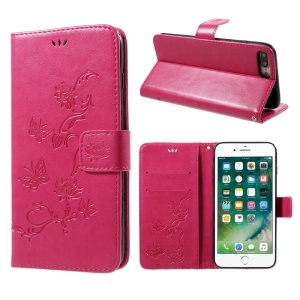 Imprint Butterfly Flower Magnetic Wallet PU Leather Stand Cover for iPhone 8 Plus / 7 Plus - Rose