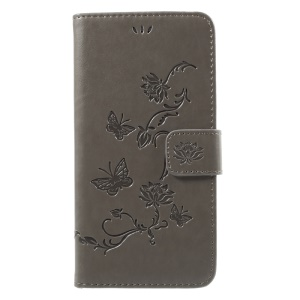 Imprint Butterfly Flower Magnetic Wallet PU Leather Stand Shell for iPhone 8 Plus / 7 Plus - Grey
