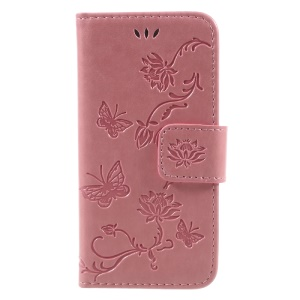 Imprint Butterfly and Flower PU Leather Wallet Mobile Case for iphone 5 / 5s / SE - Pink