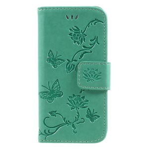 Imprint Butterfly and Flower PU Leather Wallet Cover Shell with Stand for iphone 5 / 5s / SE - Cyan